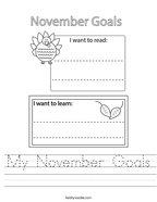 My November Goals Handwriting Sheet