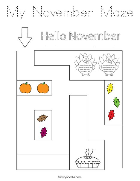My November Maze Coloring Page
