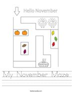 My November Maze Handwriting Sheet
