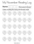 My November Reading Log Coloring Page