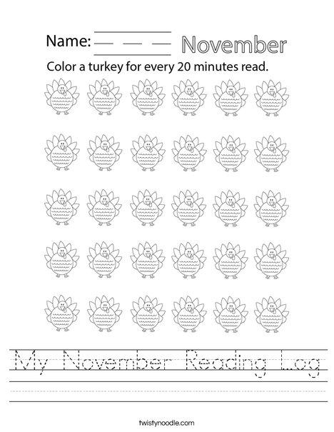 My November Reading Log Worksheet