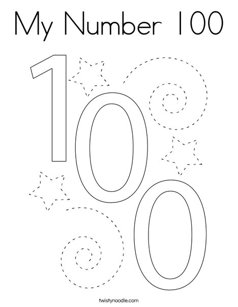 My Number 100 Coloring Page