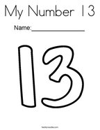 My Number 13 Coloring Page