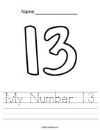 My Number 13 Handwriting Sheet