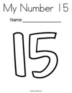 My Number 15 Coloring Page
