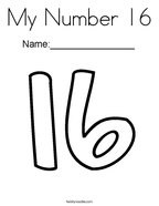 My Number 16 Coloring Page