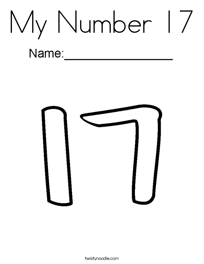 My Number 17 Coloring Page