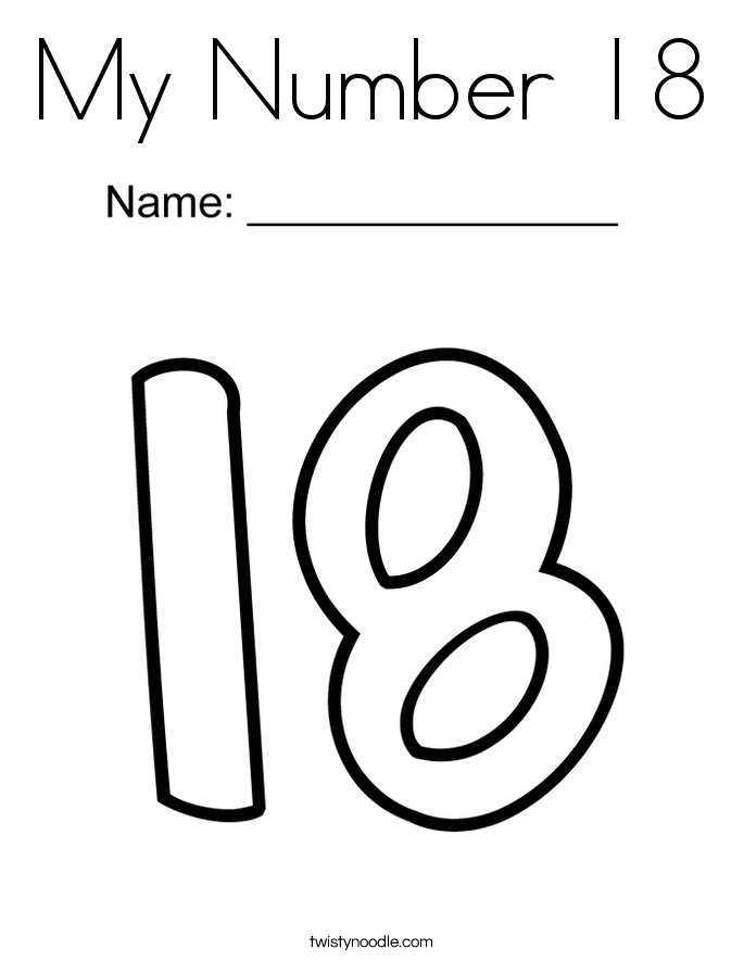 Number 18 Coloring Pages - Twisty Noodle on