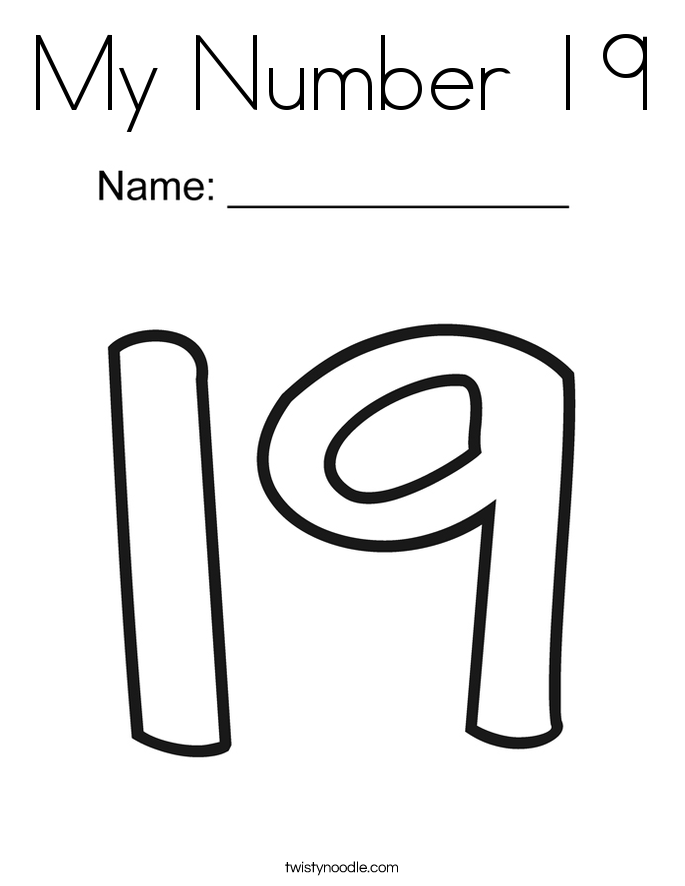 My Number 19 Coloring Page