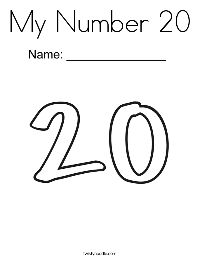 My Number 20 Coloring Page Twisty