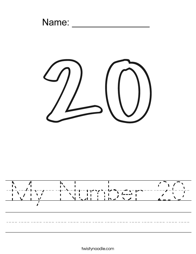 My Number 20 Worksheet