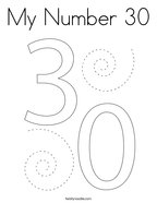 My Number 30 Coloring Page
