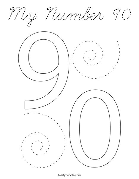 My Number 90 Coloring Page