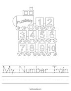 My Number Train Handwriting Sheet