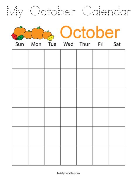 My October Calendar Coloring Page - Tracing - Twisty Noodle