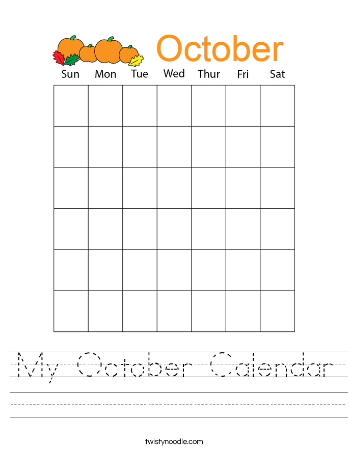 My October Calendar Worksheet