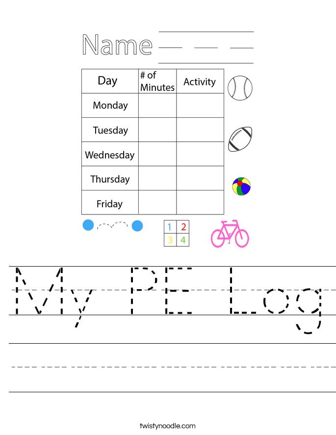 My PE Log Worksheet