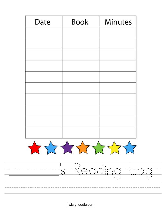 _______'s Reading Log Worksheet