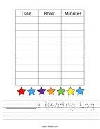 _______'s Reading Log Handwriting Sheet