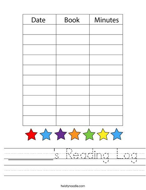 My Reading Log Worksheet