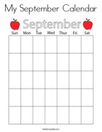 My September Calendar Coloring Page