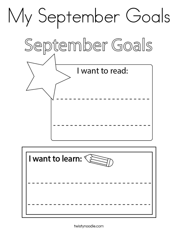 My September Goals Coloring Page
