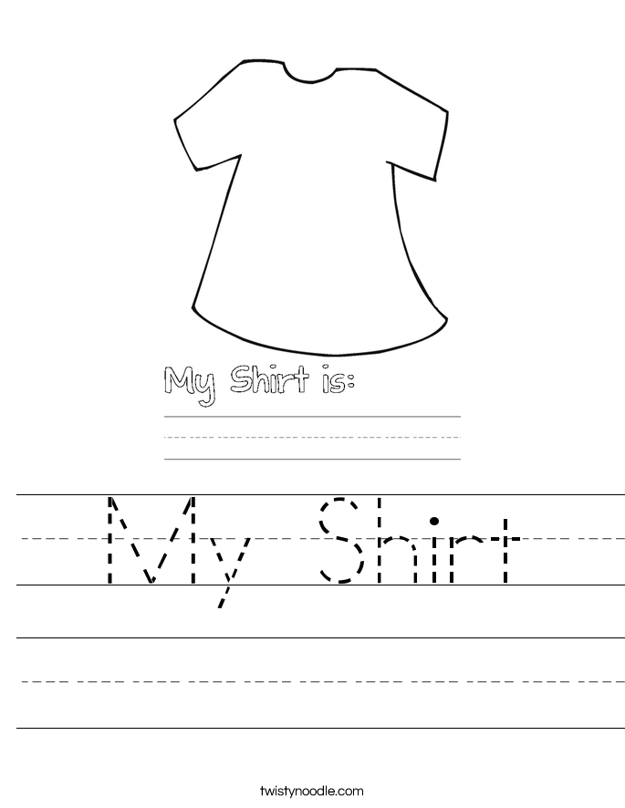 My Shirt Worksheet