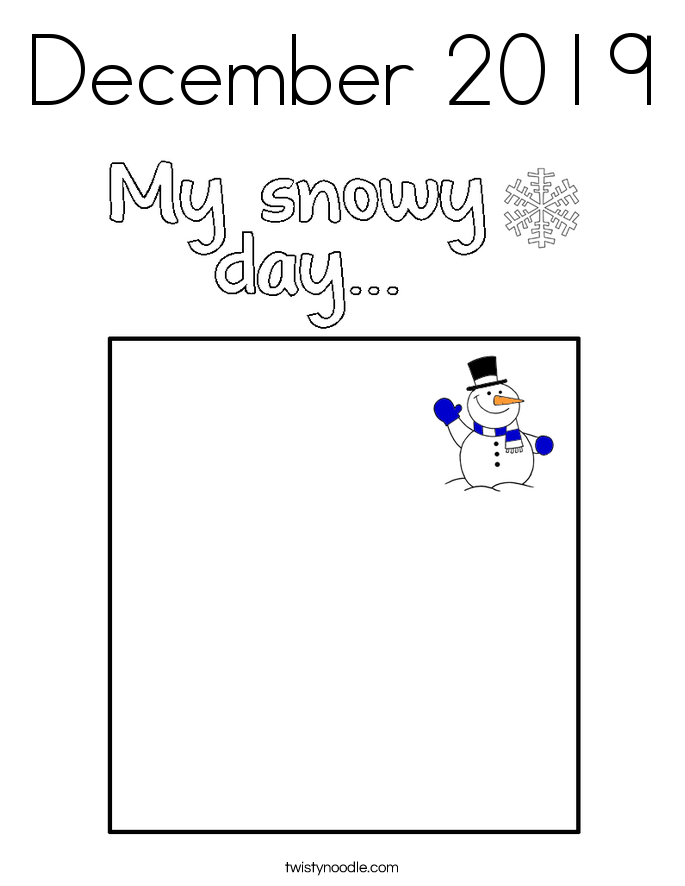 December 2019 Coloring Page