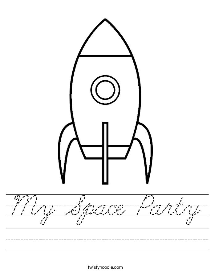 my space party worksheet cursive twisty noodle. Black Bedroom Furniture Sets. Home Design Ideas