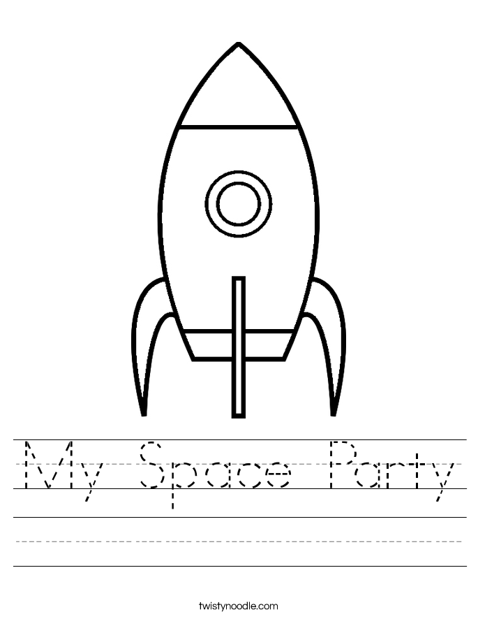 My Space Party Worksheet