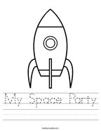 My Space Party Handwriting Sheet