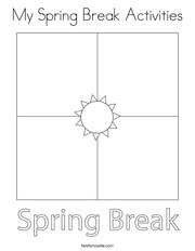 My Spring Break Activities Coloring Page
