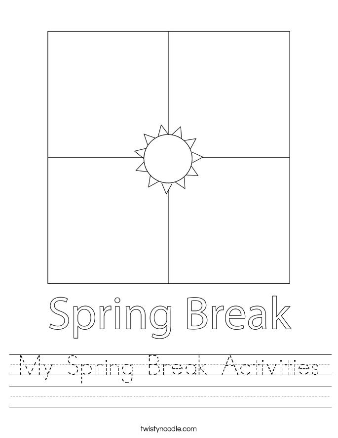 My Spring Break Activities Worksheet