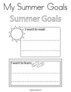 My Summer Goals Coloring Page