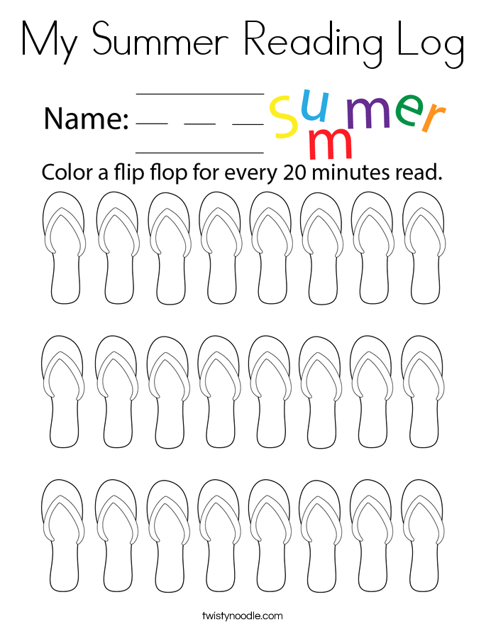 My Summer Reading Log Coloring Page