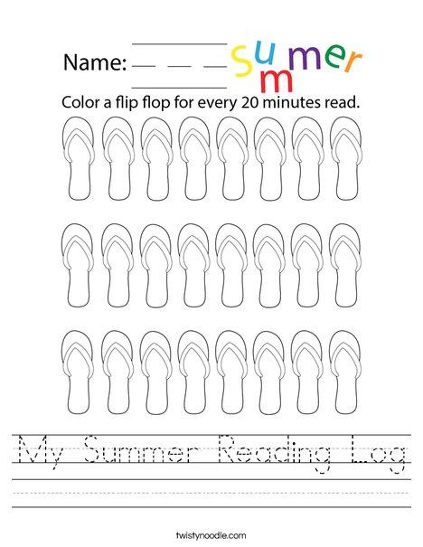My Summer Reading Log Worksheet