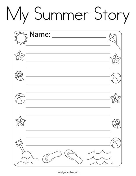My Summer Story Coloring Page