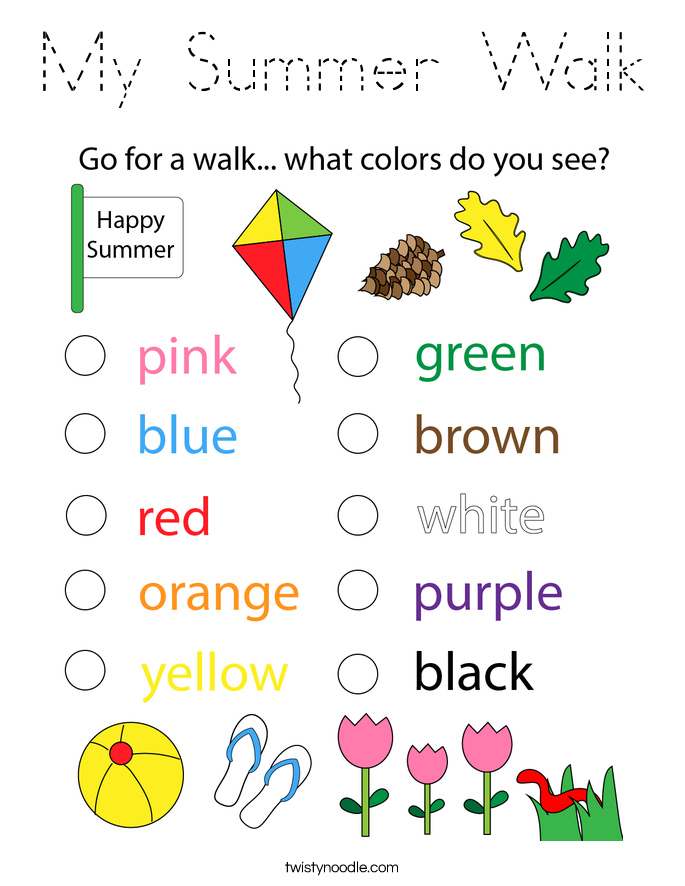 My Summer Walk Coloring Page