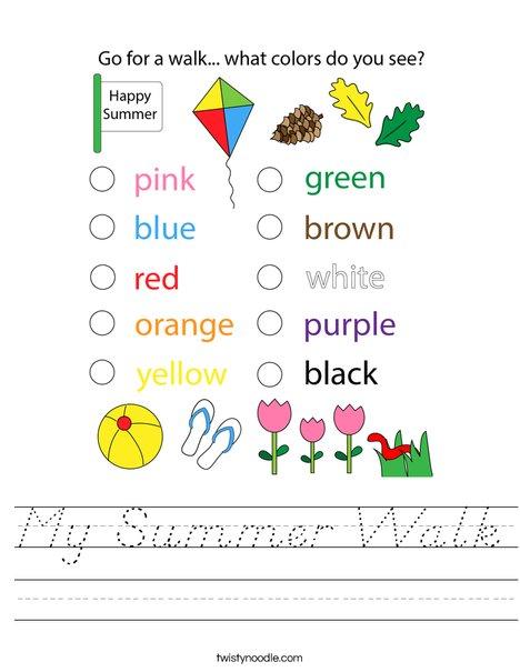 My Summer Walk Worksheet
