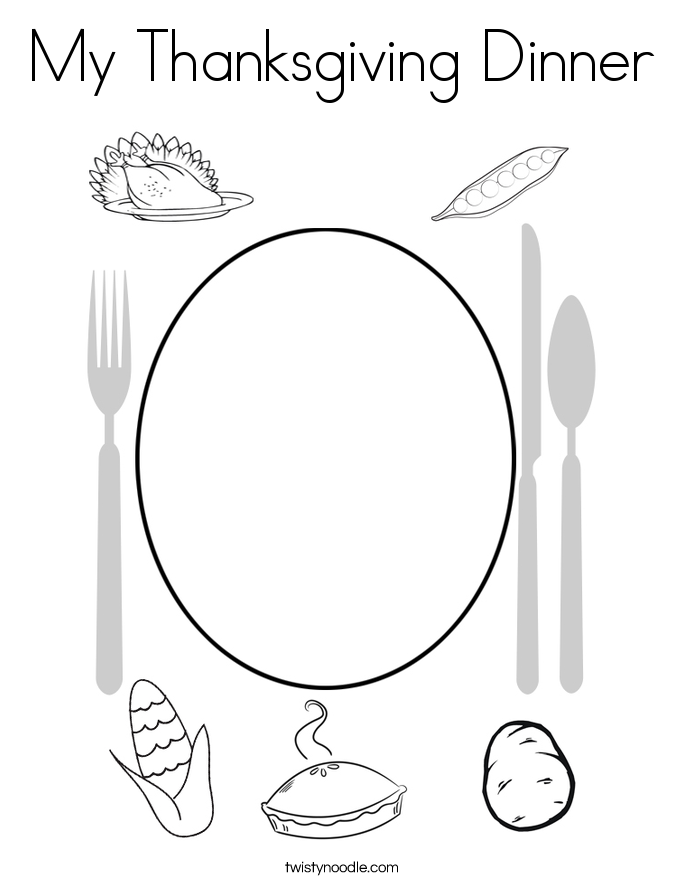 My Thanksgiving Dinner Coloring Page - Twisty Noodle