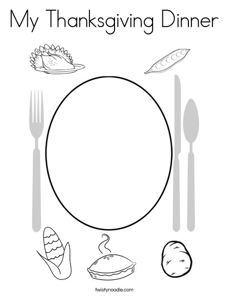 My Thanksgiving Dinner Coloring Page Twisty Noodle