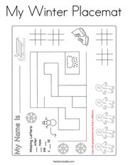 My Winter Placemat Coloring Page