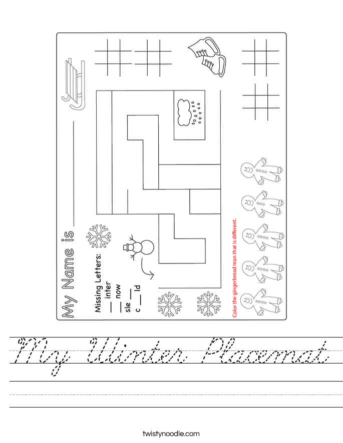 My Winter Placemat Worksheet - Cursive - Twisty Noodle