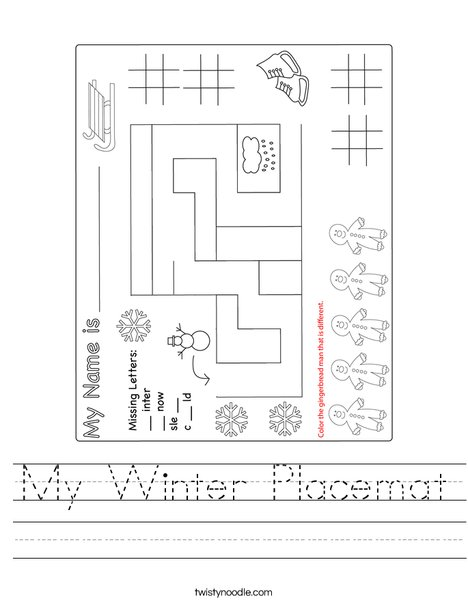 My Winter Placemat Worksheet