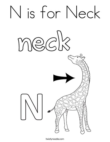 N is for Neck Coloring Page