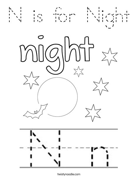 N is for Night Coloring Page