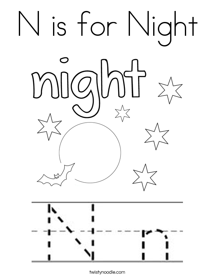 n is for night coloring page twisty noodle
