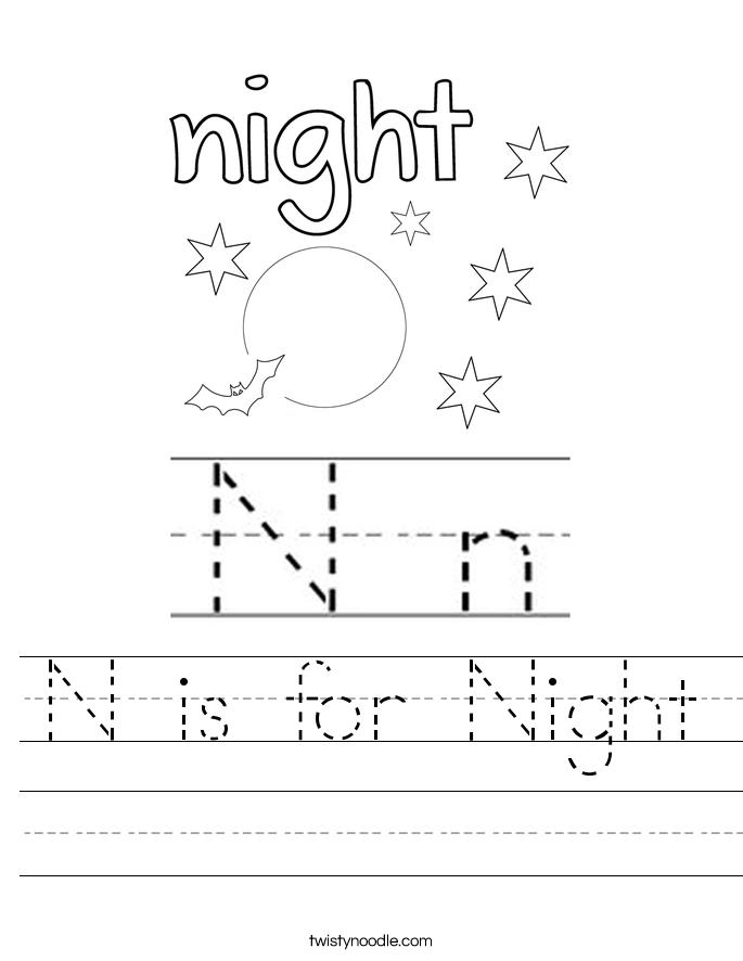 N Is For Night Worksheet Twisty Noodle