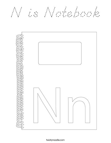 N is for Notebook Coloring Page