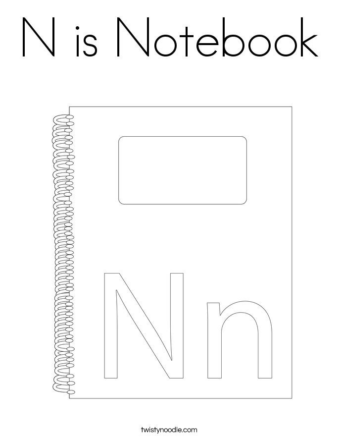 N Is Notebook Coloring Page